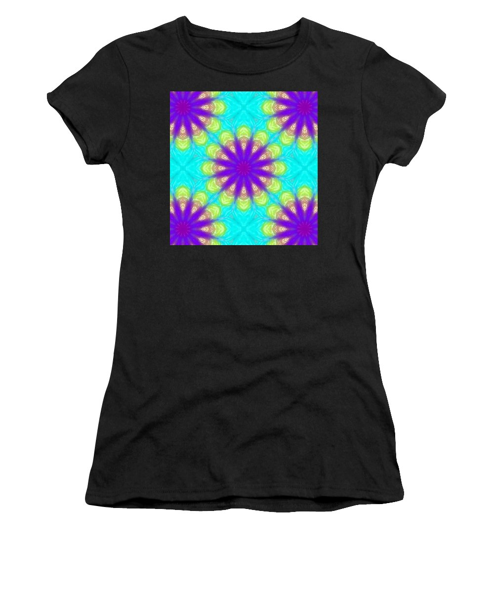 Kaleidoscope Women's T-Shirt (Athletic Fit) featuring the digital art Kaleidoscope 5 by Kimberly Rose Bartlett