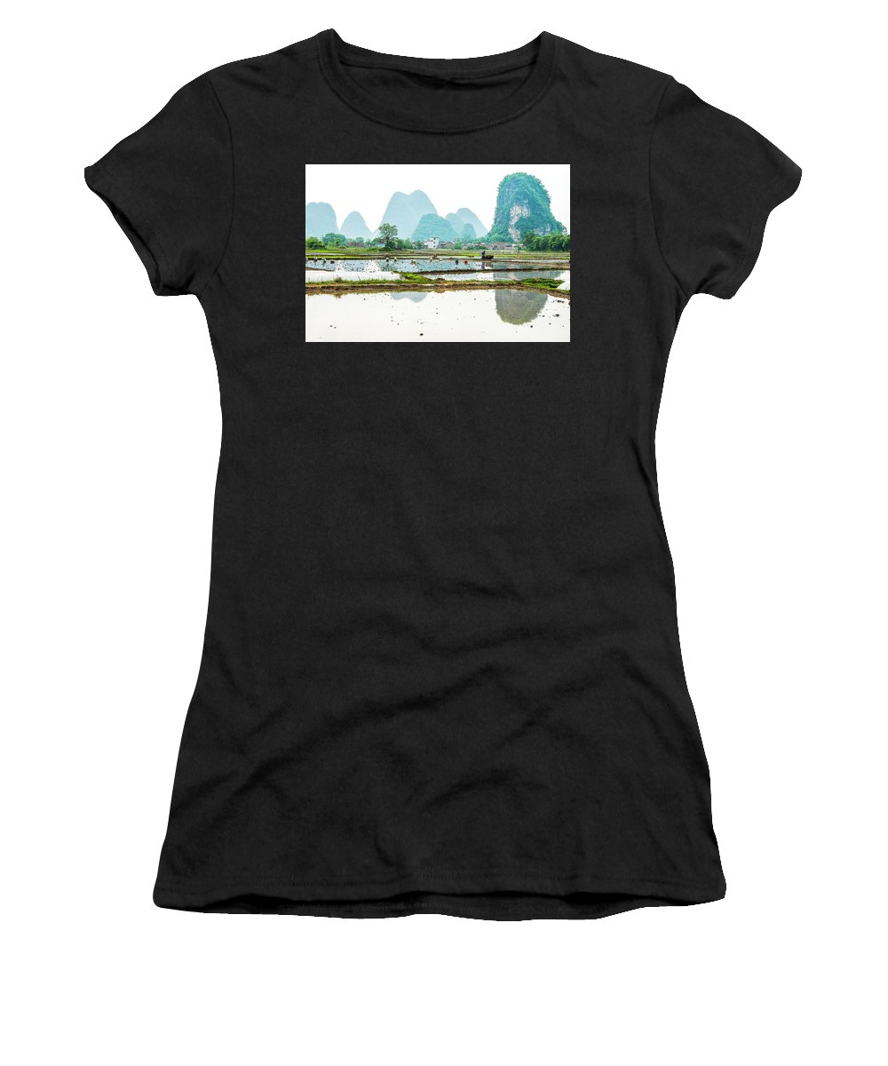 The Beautiful Karst Rural Scenery In Spring Women's T-Shirt featuring the photograph Karst Rural Scenery In Spring by Carl Ning