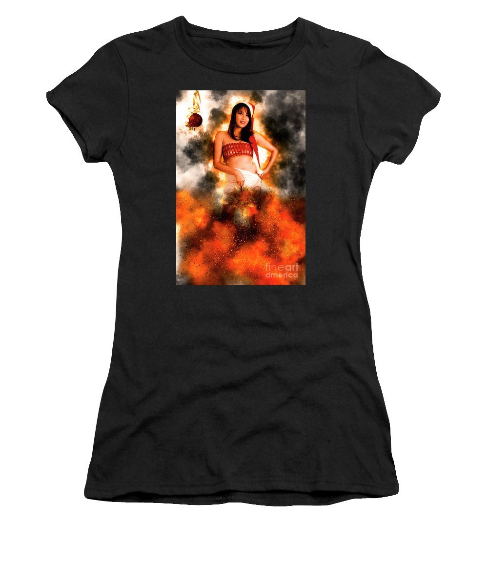 Christmas Women's T-Shirt (Athletic Fit) featuring the photograph Asian Woman With Santa Hat by Humourous Quotes