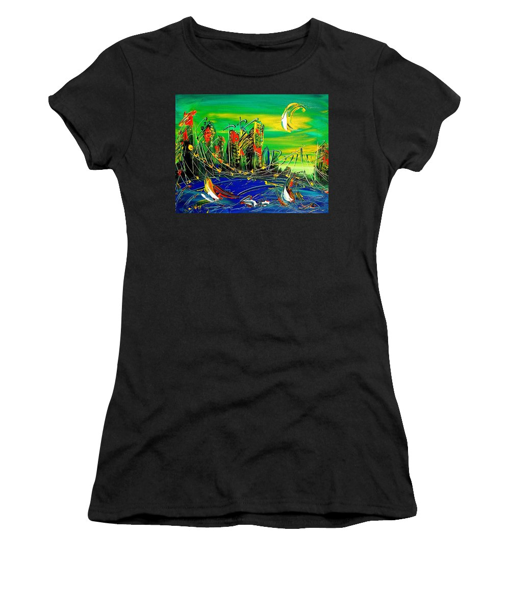 Surreal Framed Prints Women's T-Shirt (Athletic Fit) featuring the painting Cityscape by Mark Kazav