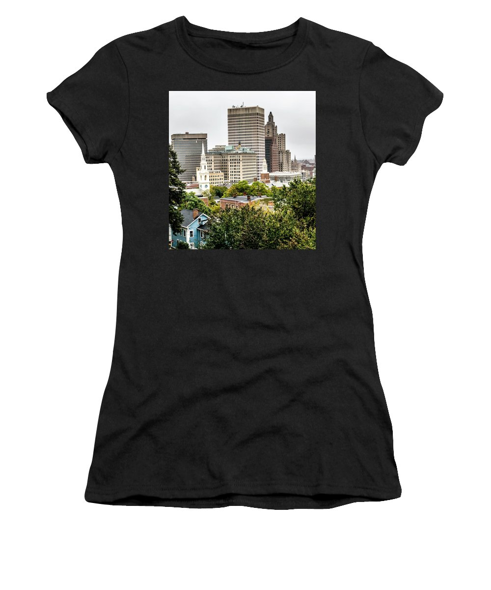 Providence Women's T-Shirt (Athletic Fit) featuring the photograph Providence Rhode Island City Skyline In October 2017 by Alex Grichenko