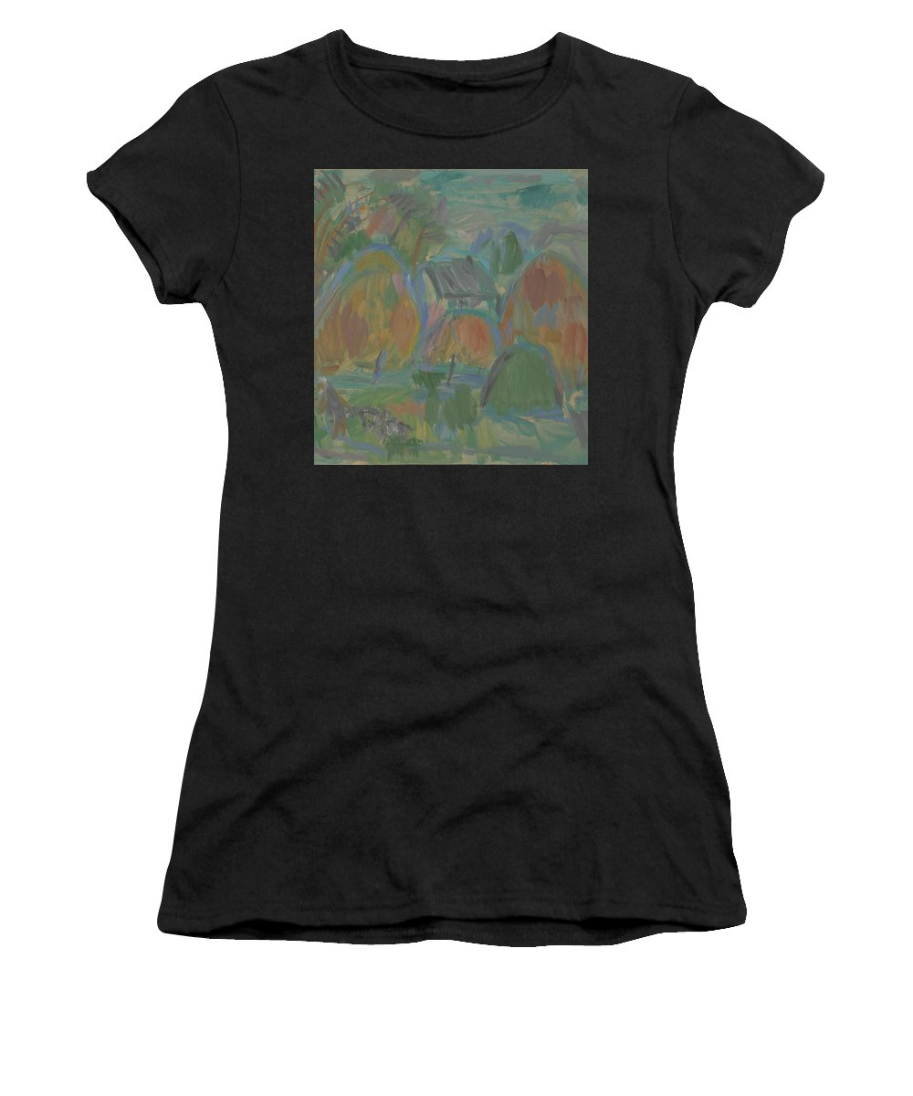 Summer Women's T-Shirt featuring the painting Haystack by Robert Nizamov