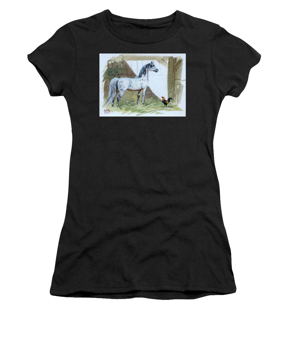 Jeanne Mellin Women's T-Shirt (Athletic Fit) featuring the painting #84 - The Gray And The Rooster by Jeanne Mellin Herrick