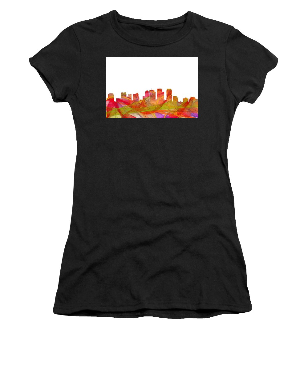 Tampa Florida Skyline Women's T-Shirt (Athletic Fit) featuring the digital art Tampa Florida Skyline by Marlene Watson