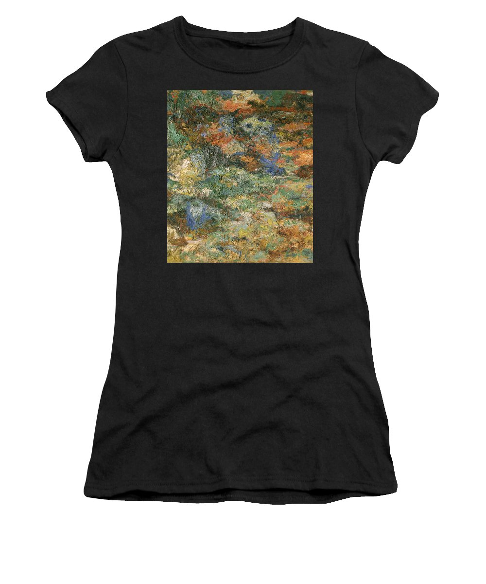 Bay Women's T-Shirt featuring the painting Water Lilies by Robert Nizamov
