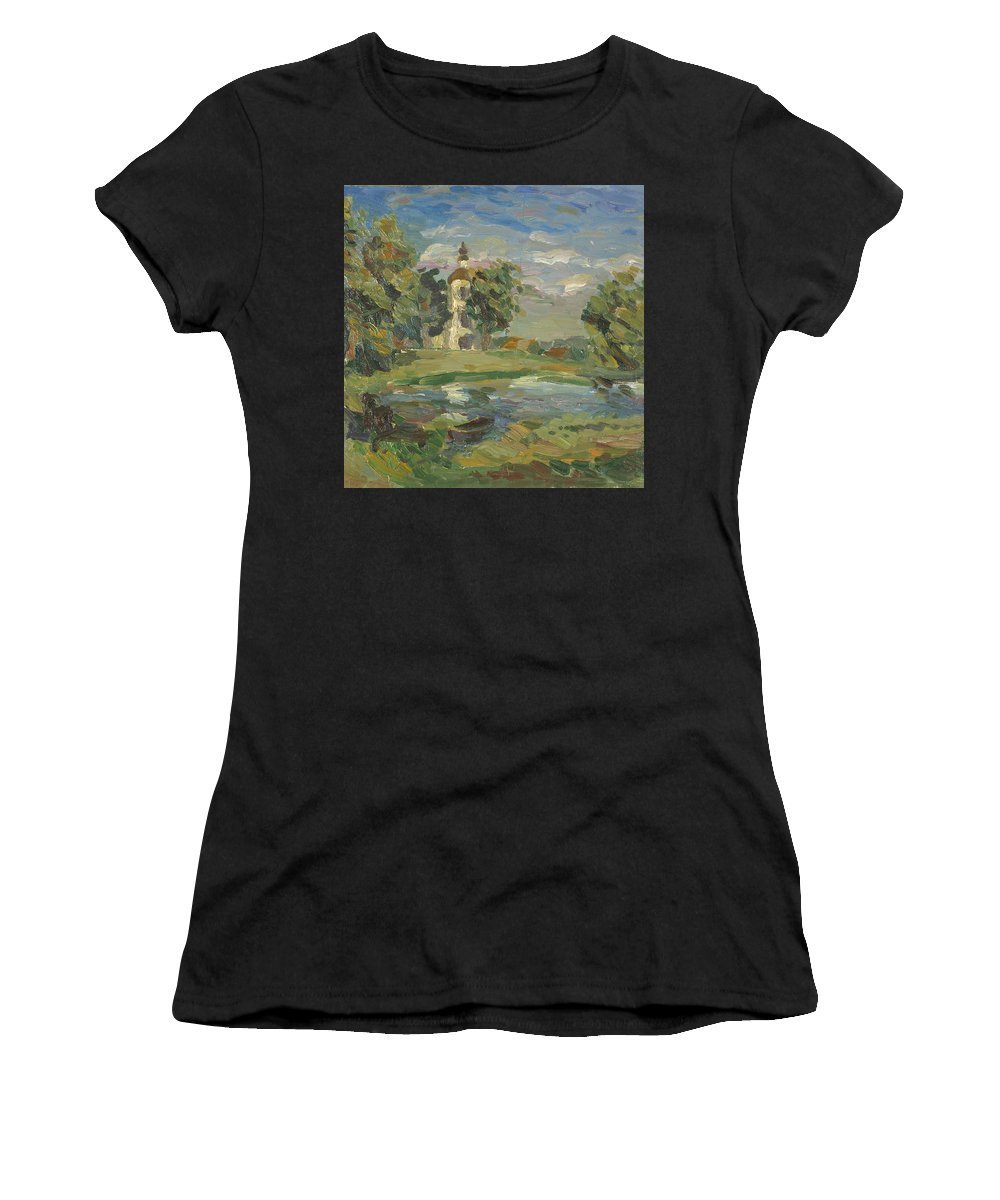 Tree Women's T-Shirt featuring the painting Church by Robert Nizamov