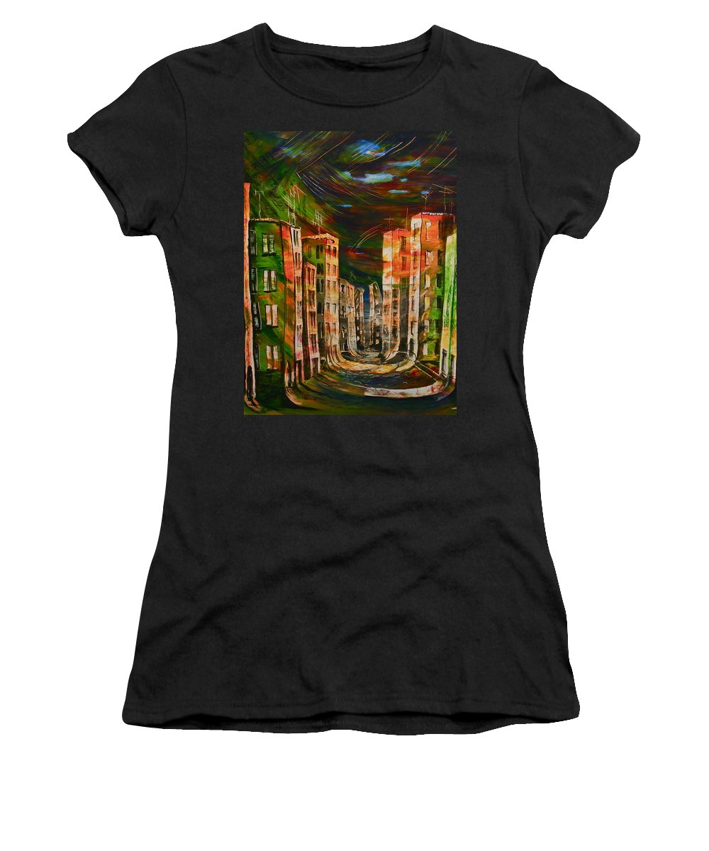 Surrealism Paintings Women's T-Shirt (Athletic Fit) featuring the painting 9.november 1989 by Carola Eleonore Thiele