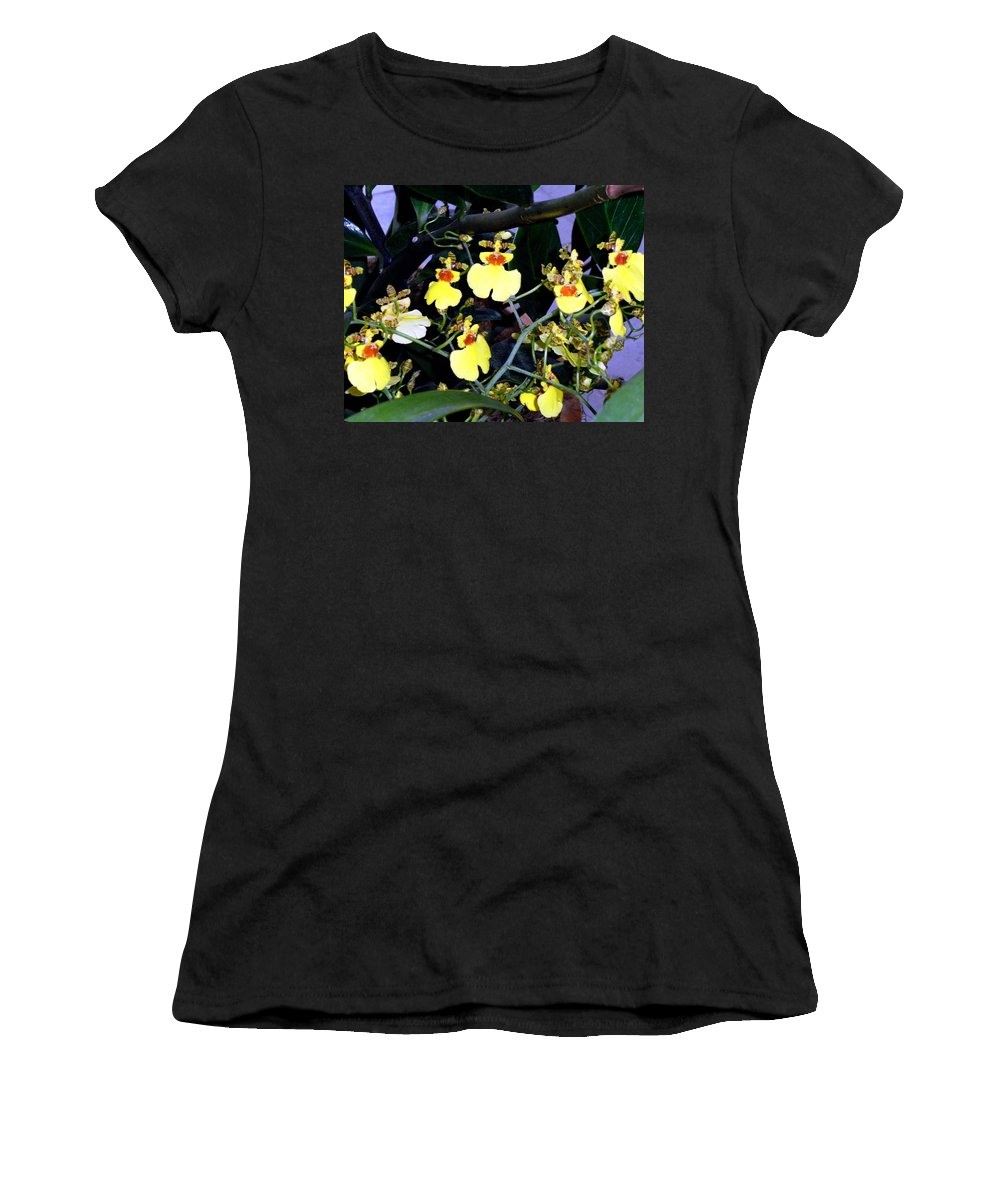 Orchids Women's T-Shirt featuring the photograph A Ballet Of Tiny Orchids by Mindy Newman