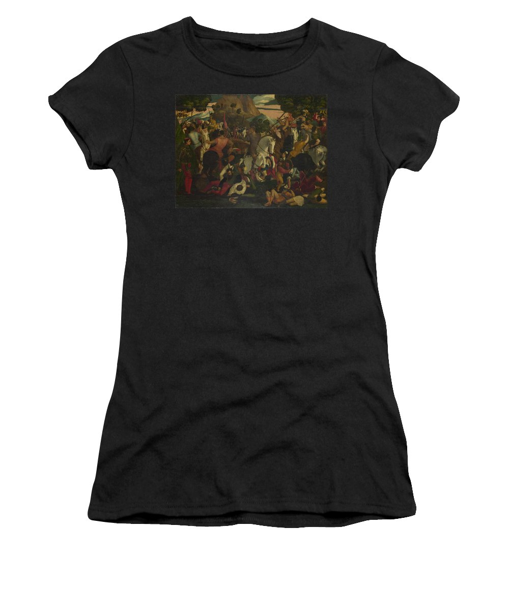 Italian Women's T-Shirt (Athletic Fit) featuring the digital art A Battle by PixBreak Art
