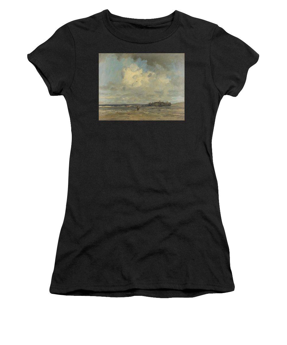 Jacob Women's T-Shirt (Athletic Fit) featuring the digital art A Beach by PixBreak Art