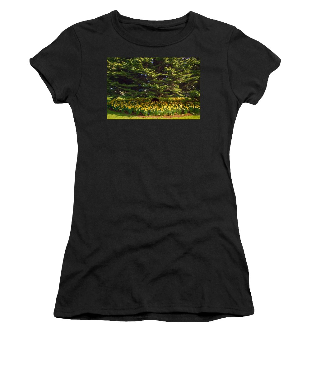 A Bed Of Narcissus Women's T-Shirt (Athletic Fit) featuring the photograph A Bed Of Narcissus by Bonnie Follett
