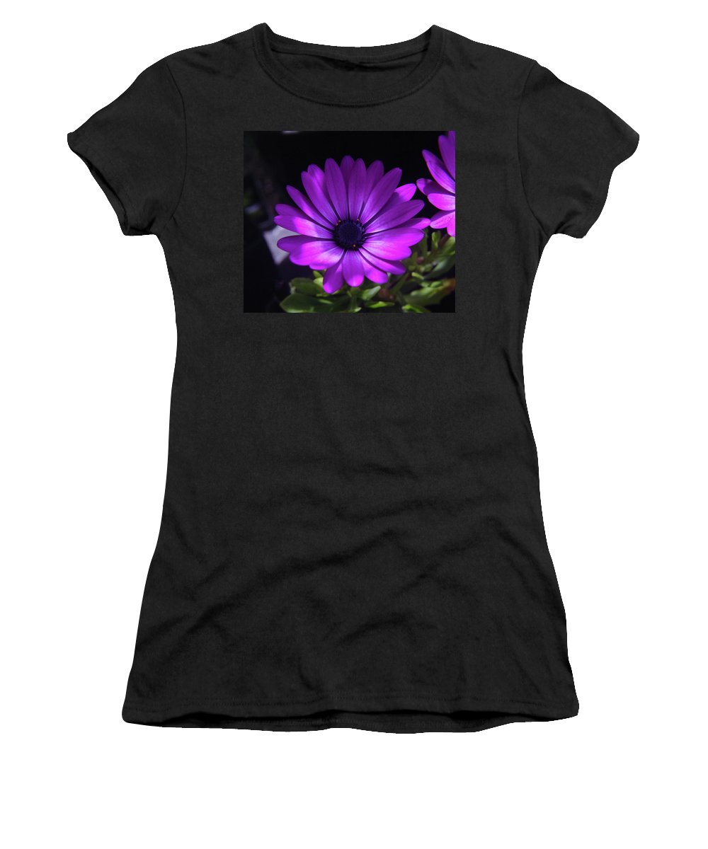 Flowers Women's T-Shirt (Athletic Fit) featuring the photograph A Blue Bloomer by Jeff Swan