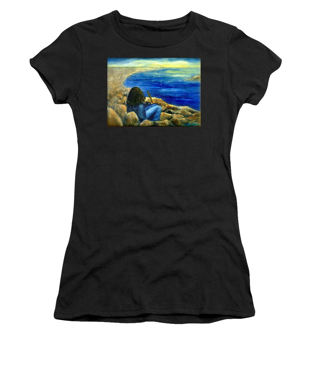 Figure Women's T-Shirt (Athletic Fit) featuring the painting A Blue Day by Gail Kirtz