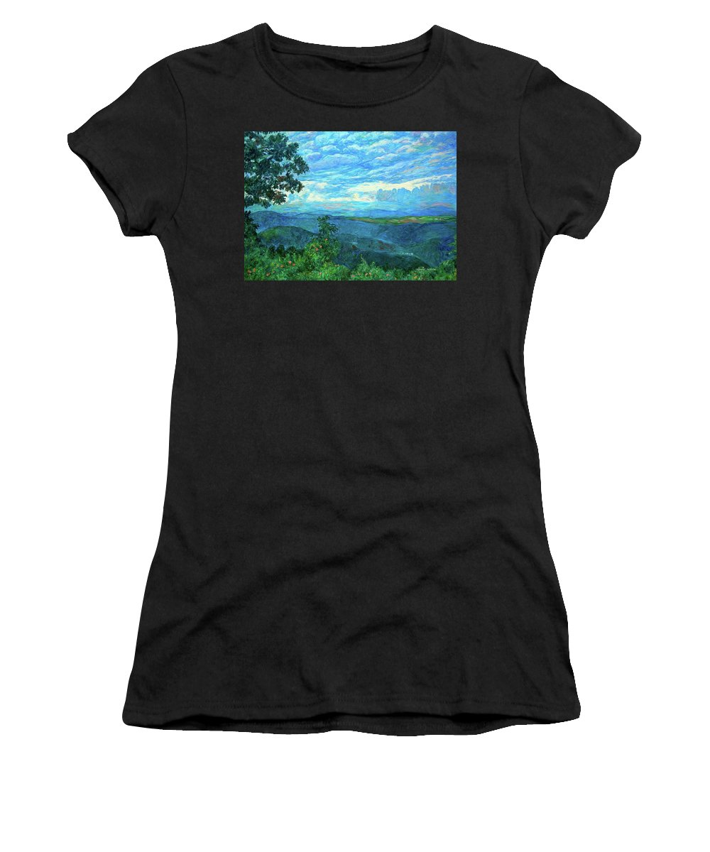 Mountains Women's T-Shirt (Athletic Fit) featuring the painting A Break In The Clouds by Kendall Kessler