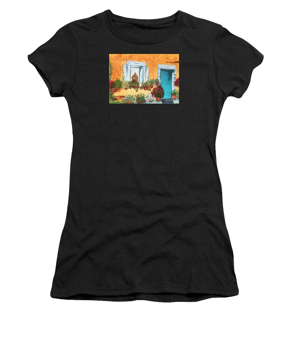 Watercolor Painting Women's T-Shirt (Athletic Fit) featuring the painting A Cottage In The Village by Patricia Griffin Brett