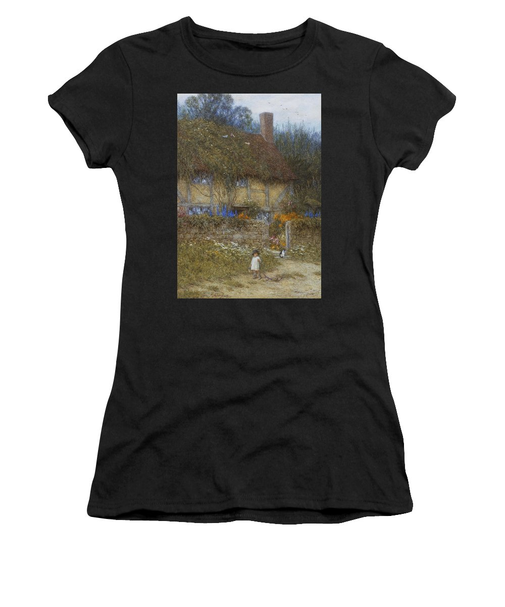 Landscape; Rural; English; Half-timbered; Victorian; Garden; Delphiniums Women's T-Shirt (Athletic Fit) featuring the painting A Cottage Near Godalming Surrey by Helen Allingham