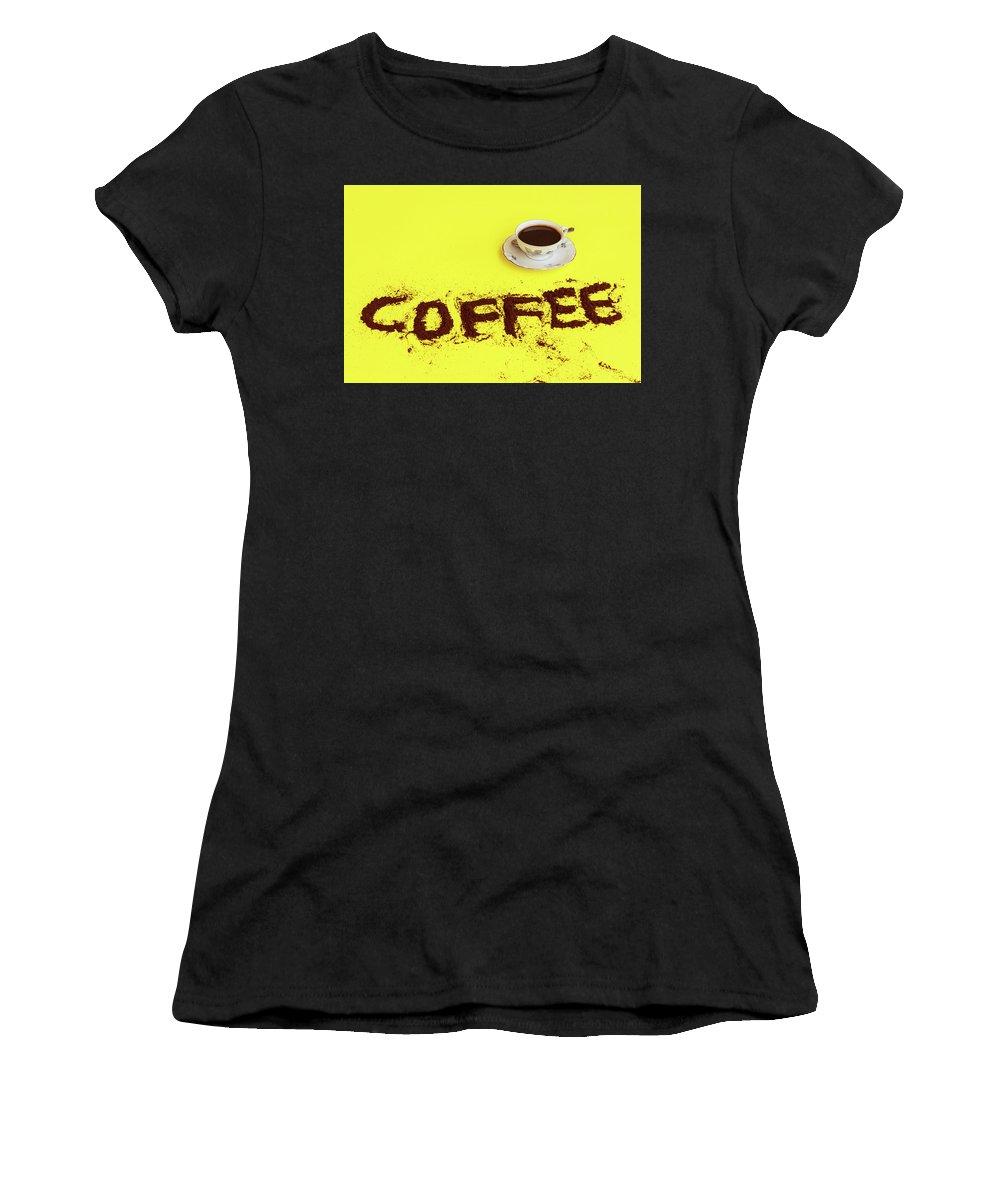 Coffee Women's T-Shirt (Athletic Fit) featuring the photograph A Cup Full Of Coffee by Susanna Mattioda