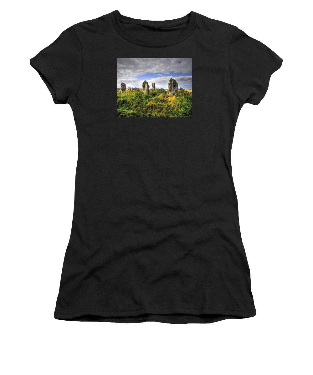 Stone Circle Women's T-Shirt (Athletic Fit) featuring the digital art Song Of The Stones by Vicki Lea Eggen