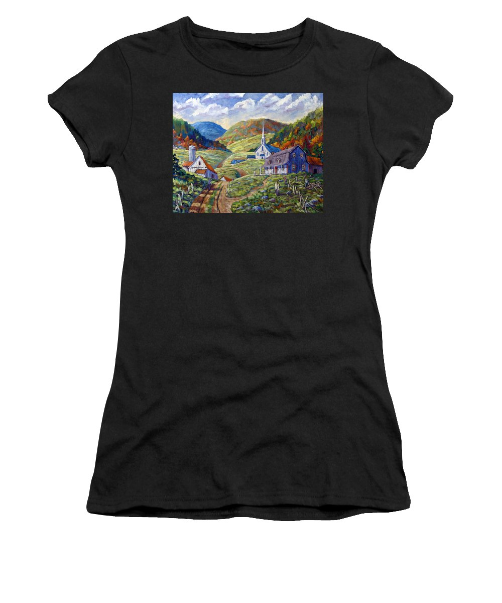 Landscape Women's T-Shirt featuring the painting A Day In Our Valley by Richard T Pranke