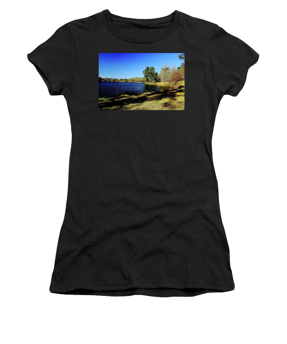 Lake Women's T-Shirt (Athletic Fit) featuring the photograph A Day To Ponder by Allen Nice-Webb