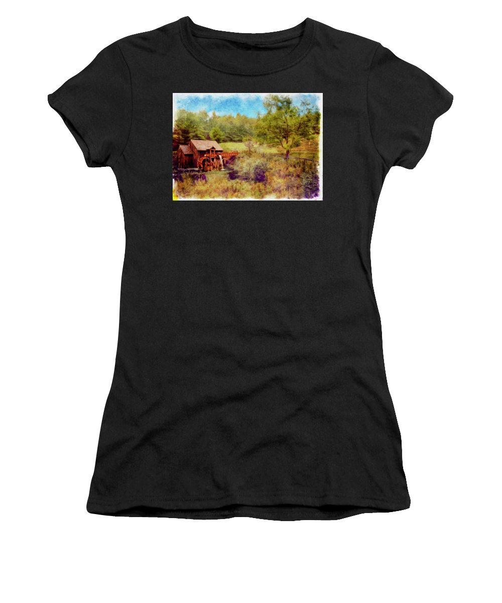 Fall Women's T-Shirt featuring the photograph Grist Mill With Flowing Water by Rusty R Smith