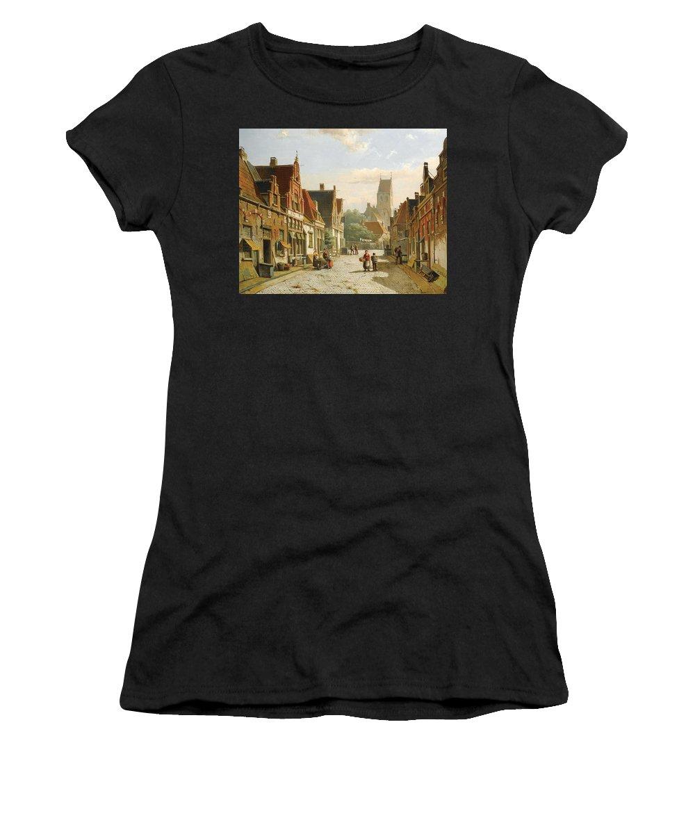 Willem Koekkoek Women's T-Shirt (Athletic Fit) featuring the painting A Dutch Street In Summer by Willem Koekkoek