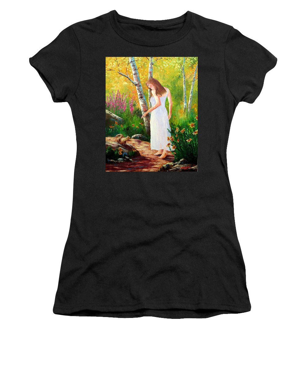 Landscape Women's T-Shirt (Athletic Fit) featuring the painting A Friendly Greeting by David G Paul