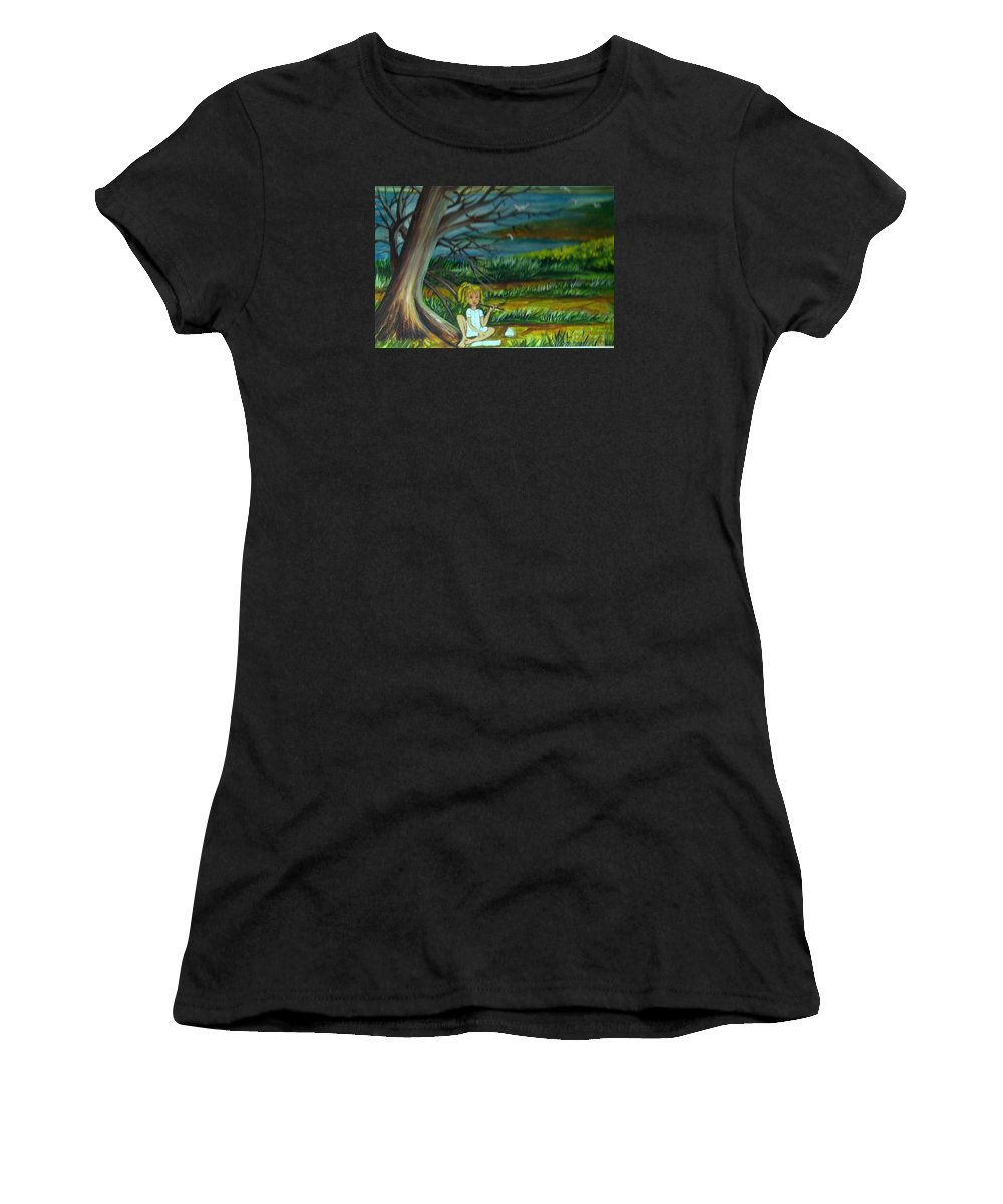 Nature Women's T-Shirt (Athletic Fit) featuring the painting A Girl Near The Pond by Michelle Caraballo