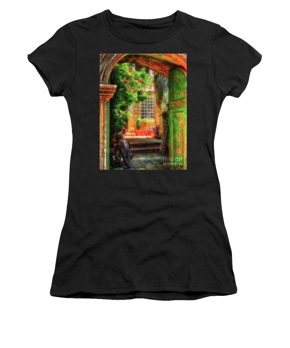 Doorway Women's T-Shirt (Athletic Fit) featuring the photograph A Glimpse by Lois Bryan