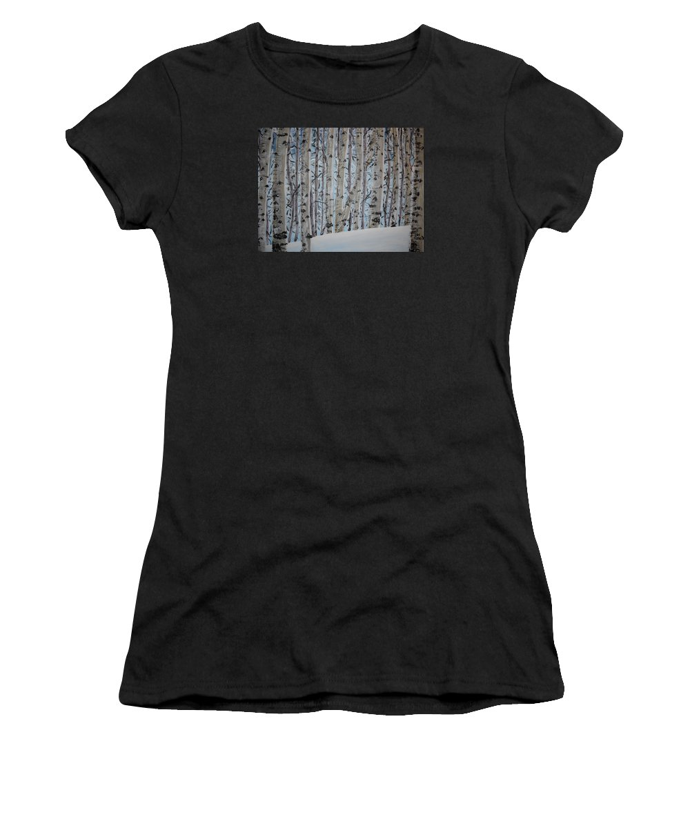 Aspen Women's T-Shirt featuring the painting A Grove Of Aspens by Cami Lee