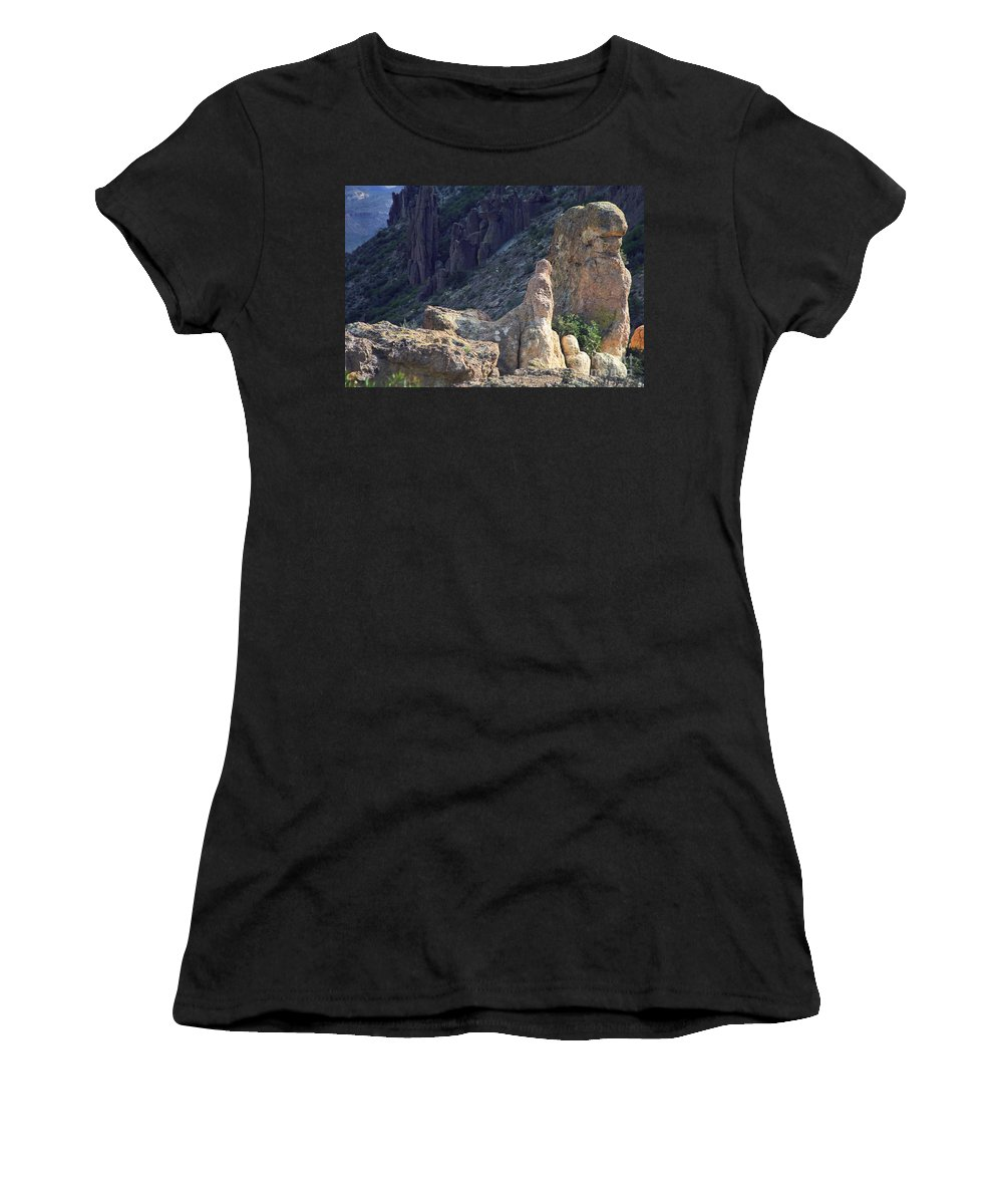 Rock Formations Women's T-Shirt (Athletic Fit) featuring the photograph A Hard Ride by Kathy McClure