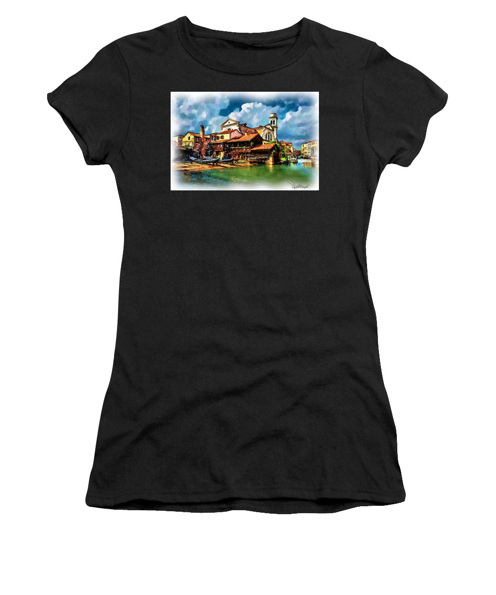 Venice Women's T-Shirt (Athletic Fit) featuring the digital art A Hidden Place In Venice by Rinaldo Mendes