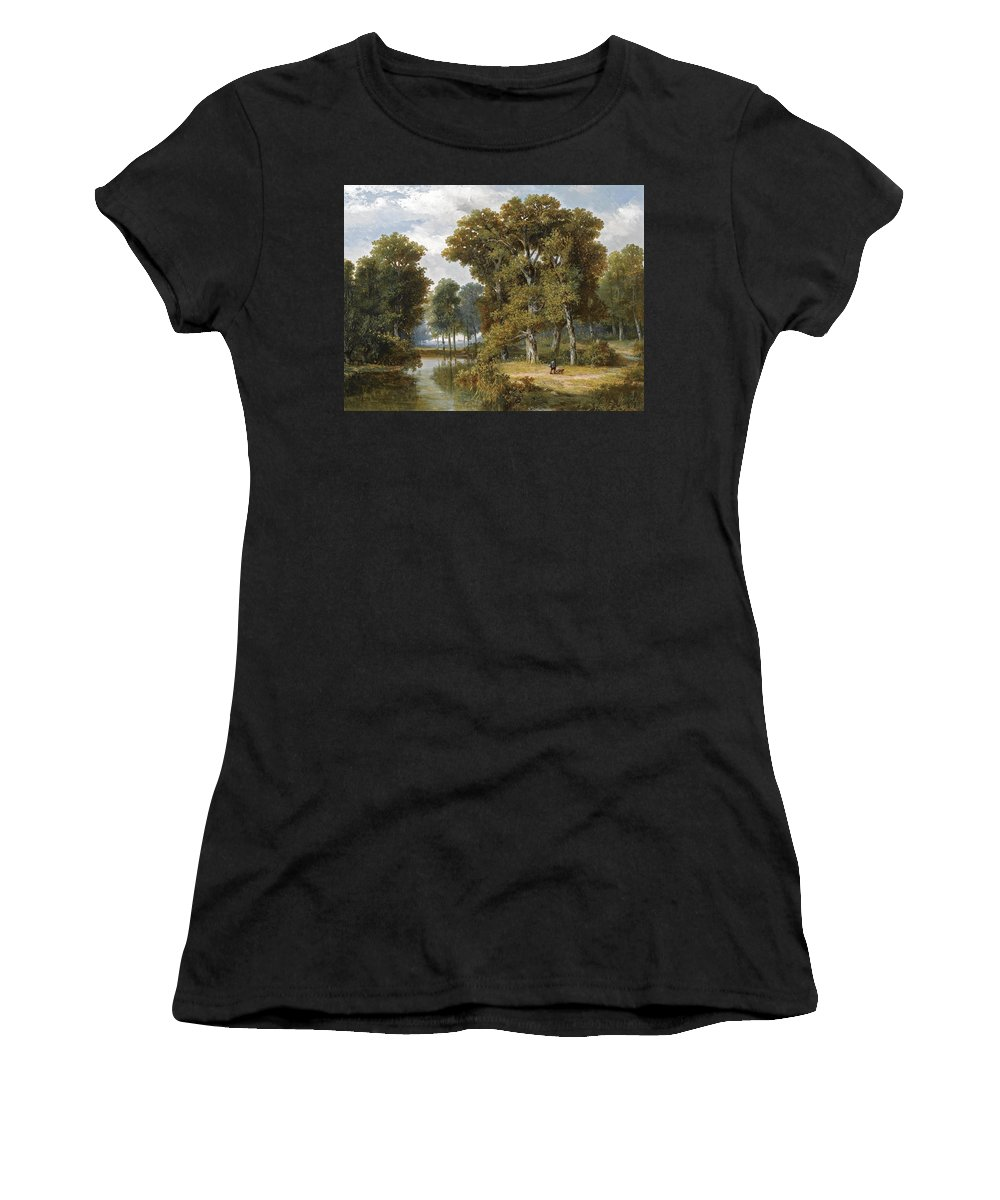 Willem Roelofs Women's T-Shirt (Athletic Fit) featuring the painting A Hunter And An Angler In A Wooded Landscape by Willem Roelofs