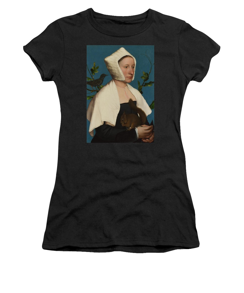 Hans Women's T-Shirt (Athletic Fit) featuring the digital art A Lady With A Squirrel And A Starling Anne Lovell by PixBreak Art