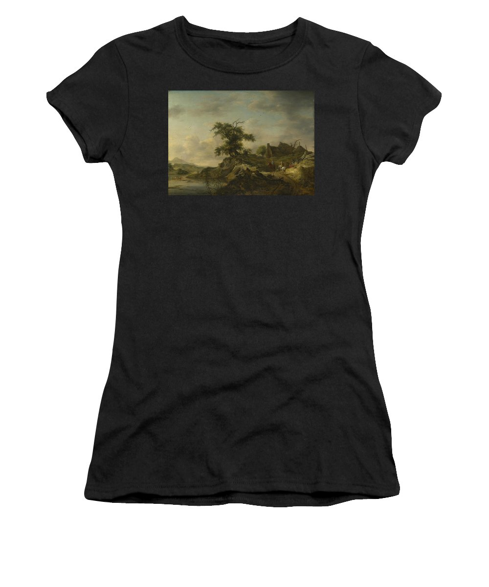 Jan Women's T-Shirt (Athletic Fit) featuring the digital art A Landscape With A Farm On The Bank Of A River by PixBreak Art