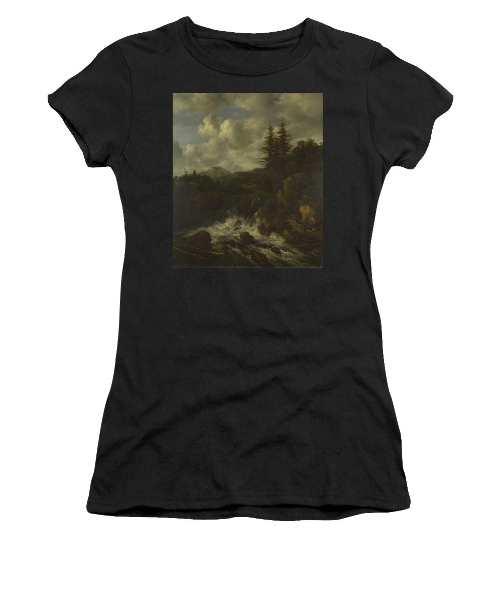 Jacob Women's T-Shirt (Athletic Fit) featuring the digital art A Landscape With A Waterfall And A Castle On A Hill by PixBreak Art