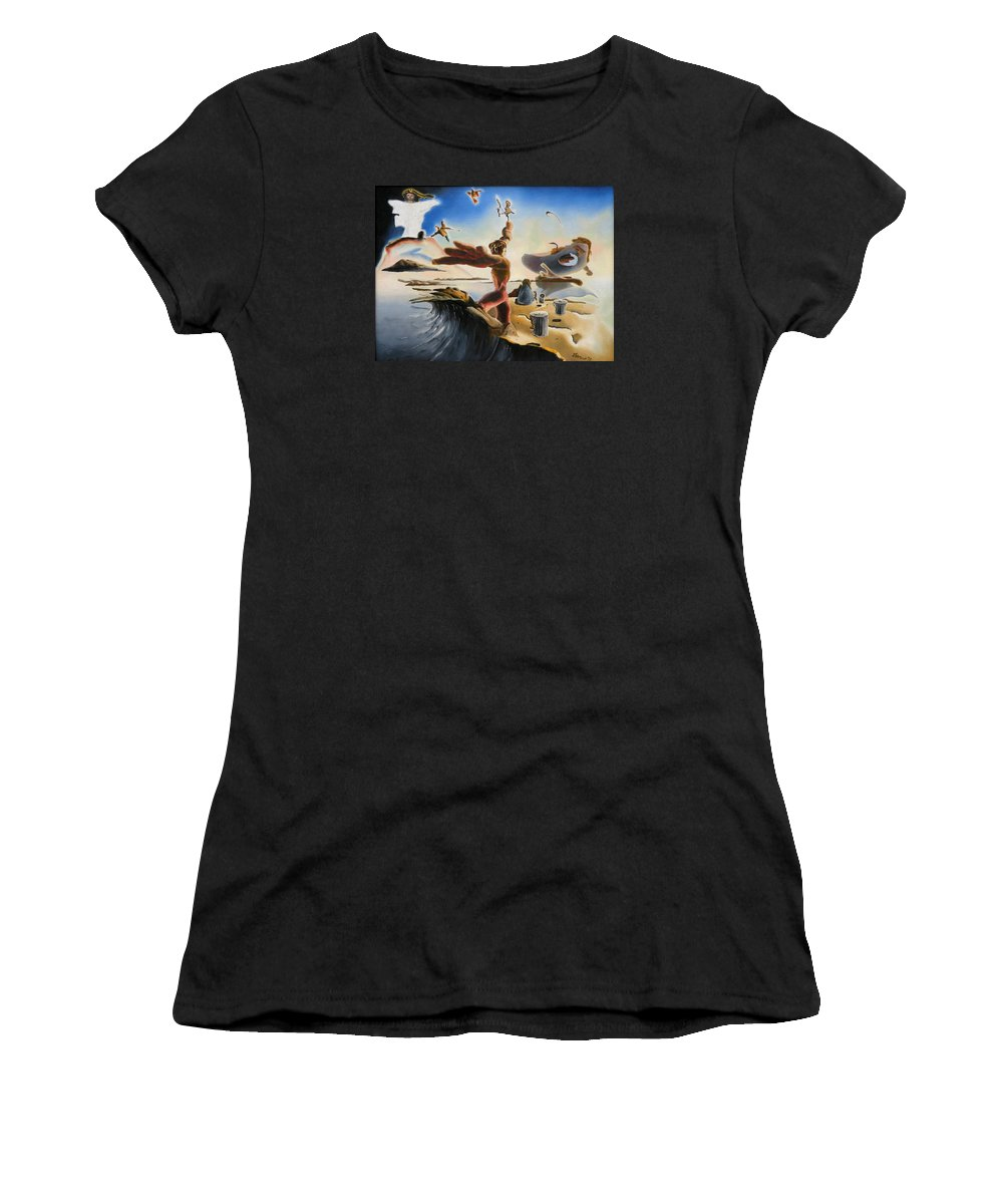 Oil Women's T-Shirt (Athletic Fit) featuring the painting A Last Minute Apocalyptic Education by Dave Martsolf