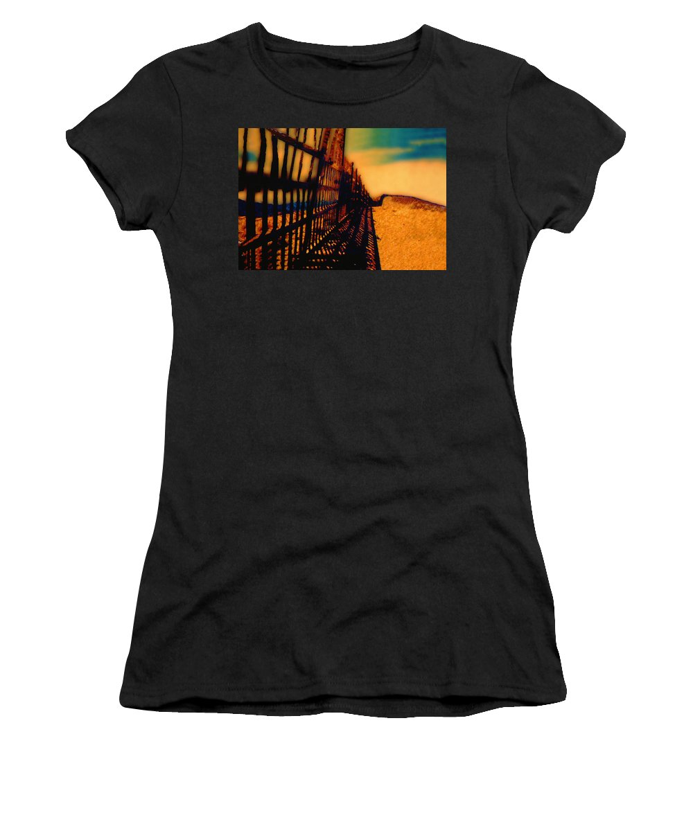Fence Women's T-Shirt (Athletic Fit) featuring the photograph A Mammoth Fence by Paul Wear