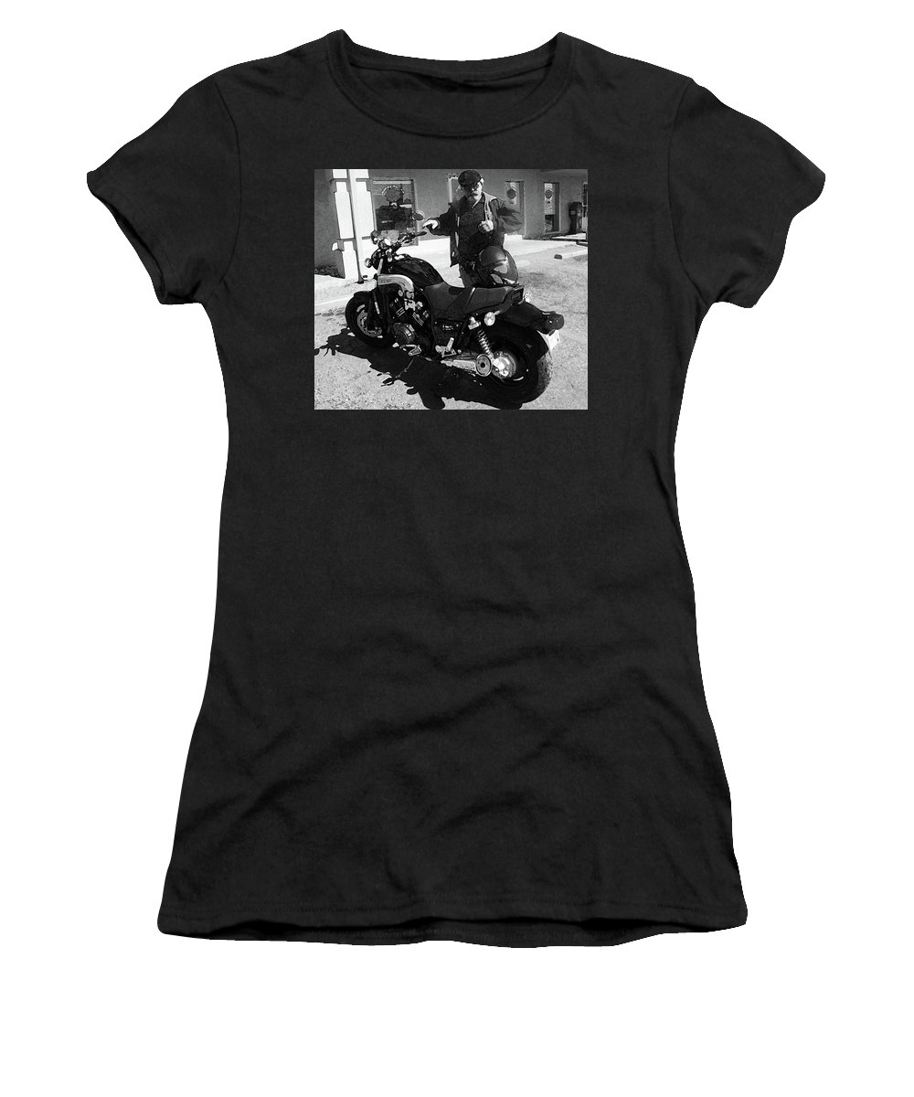 Abstract Women's T-Shirt (Athletic Fit) featuring the photograph A Man And His Bike by Lenore Senior