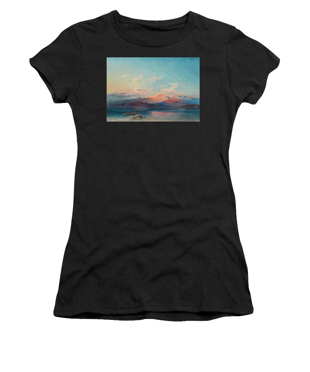 Leopold Rottmann Women's T-Shirt featuring the painting A Mountain Lake At Sunset by Leopold Rottmann