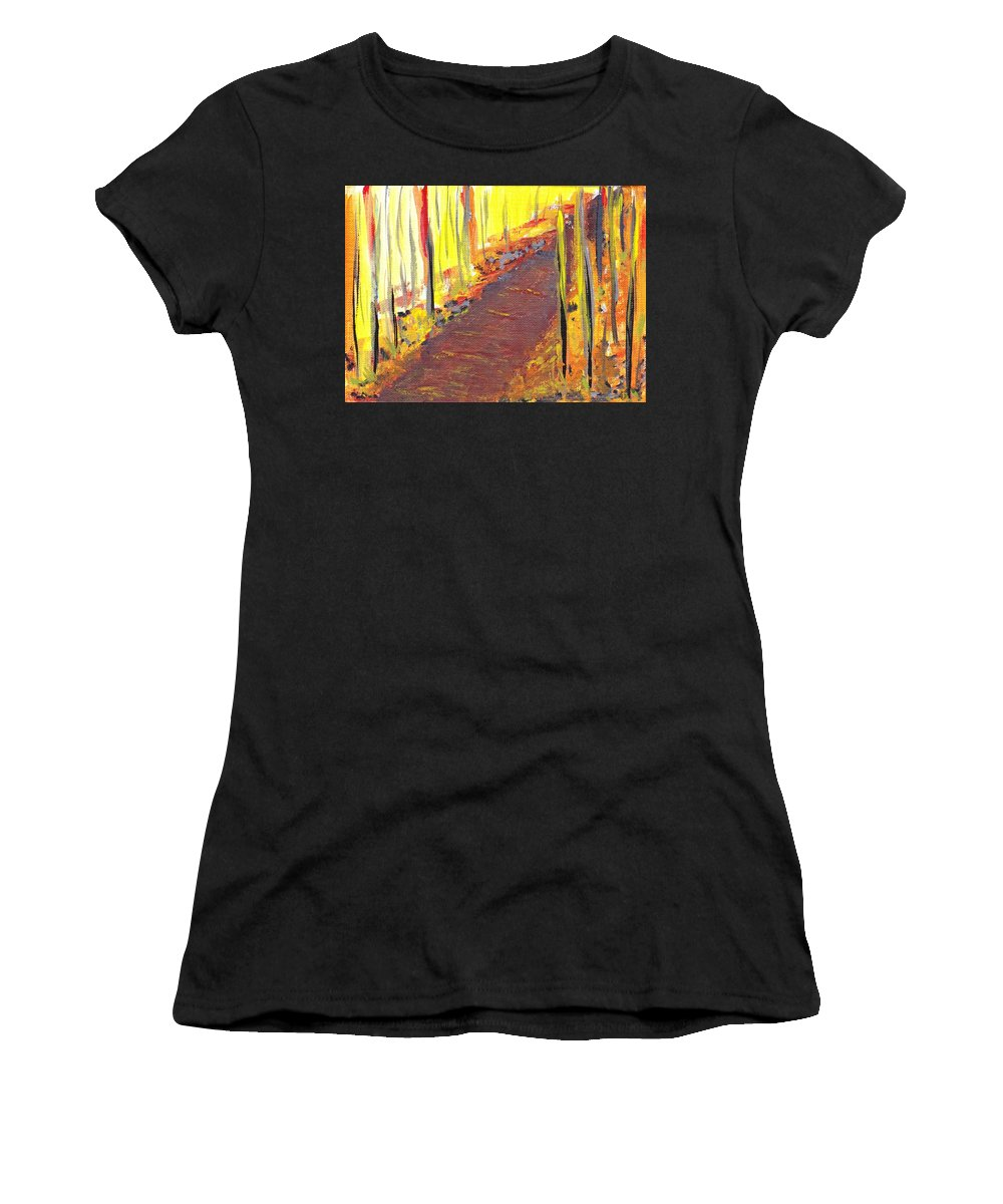 Walk The Path Women's T-Shirt (Athletic Fit) featuring the painting A New Fall Path by Ellen Jenny Watkins