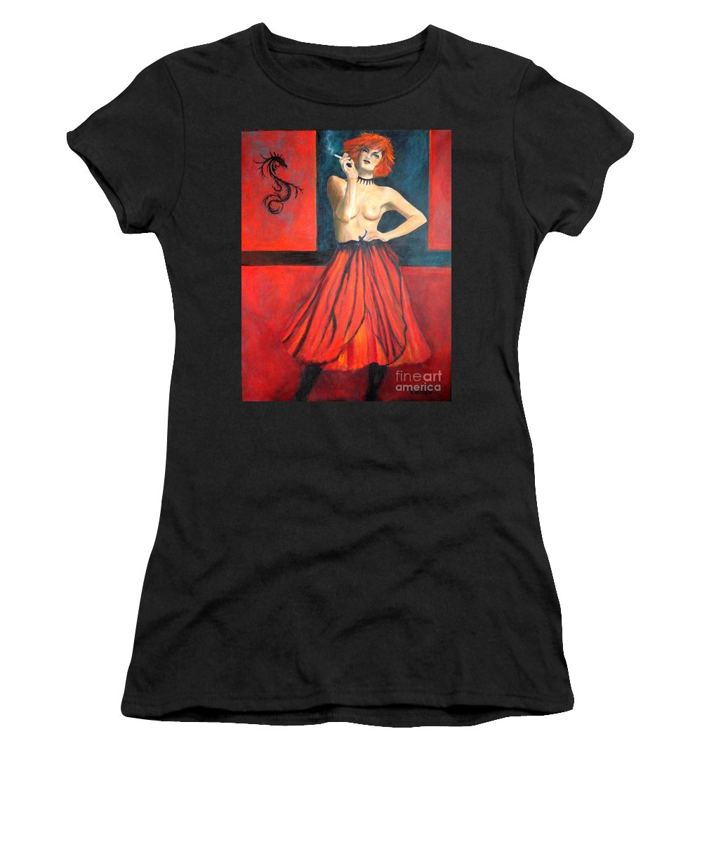 Lisbeth-salander-original-painting-to-buy Women's T-Shirt (Athletic Fit) featuring the painting A New Version Of Lisbeth Salander by Dagmar Helbig