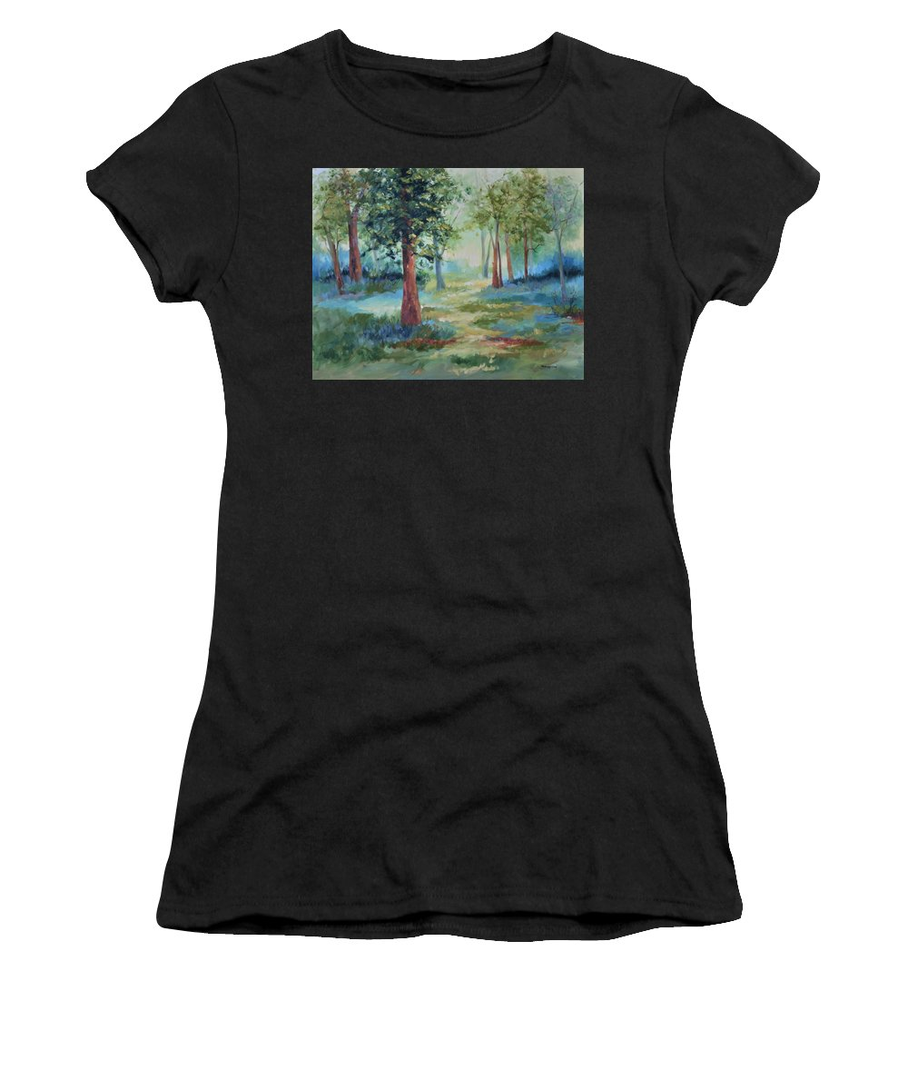 Trees Women's T-Shirt (Athletic Fit) featuring the painting A Path Not Taken by Ginger Concepcion