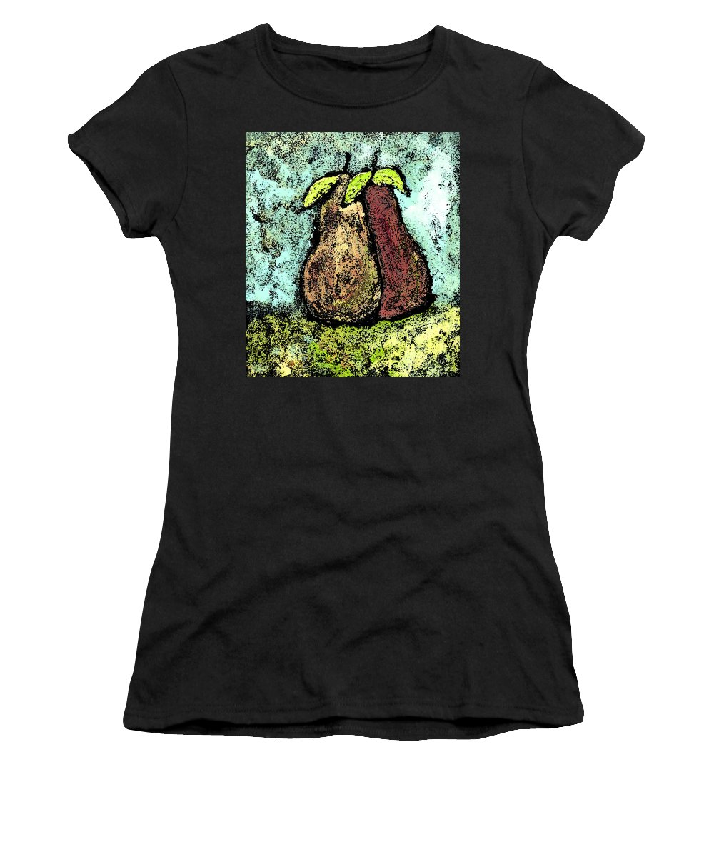 Pears Women's T-Shirt (Athletic Fit) featuring the painting A Pear Pair by Wayne Potrafka