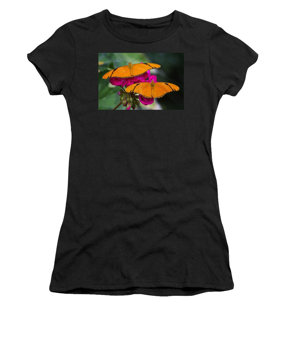 Julia Butterfly Women's T-Shirt (Athletic Fit) featuring the photograph A Perfect Pair by Saija Lehtonen