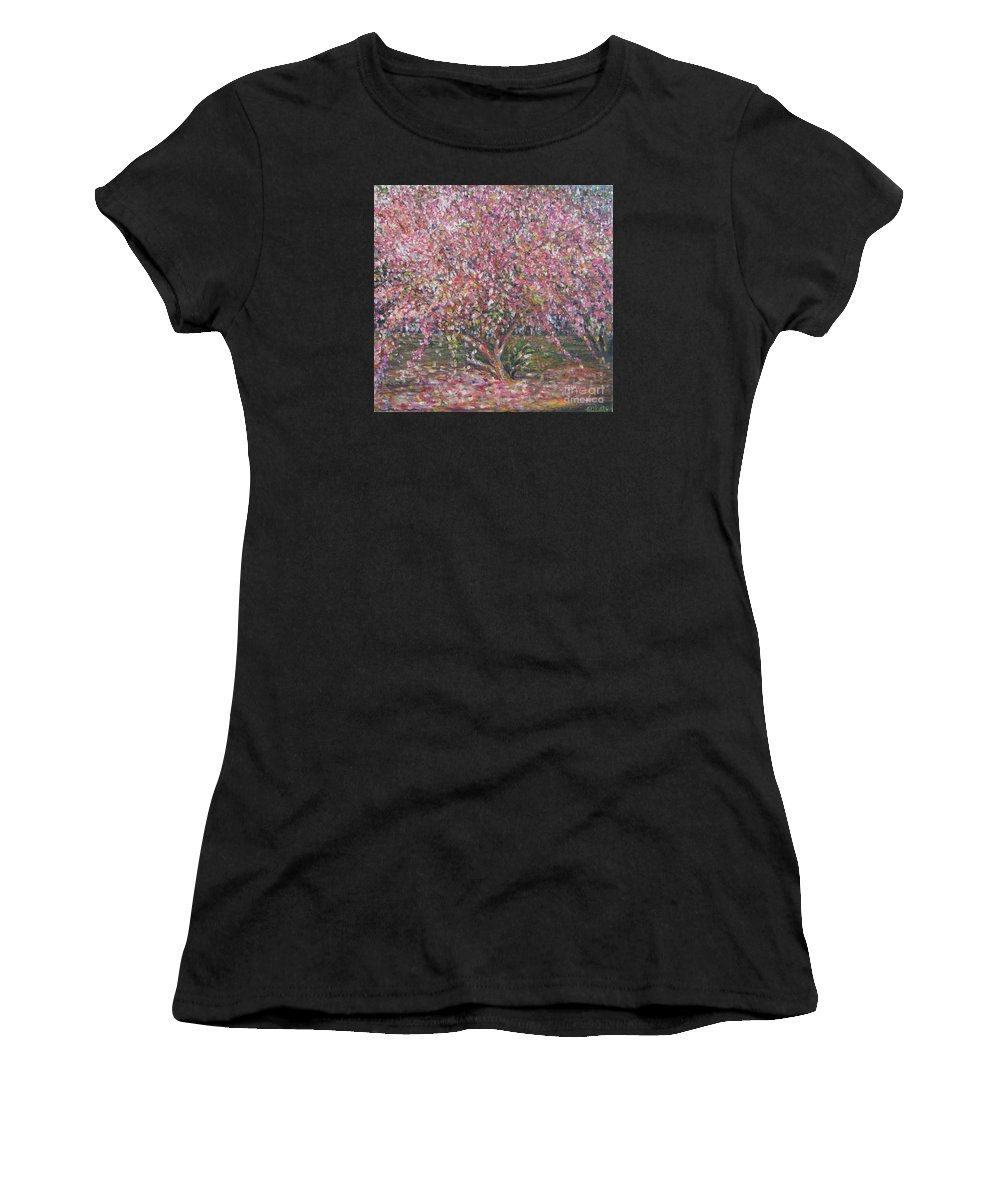 Pink Women's T-Shirt (Athletic Fit) featuring the painting A Pink Tree by Sukalya Chearanantana