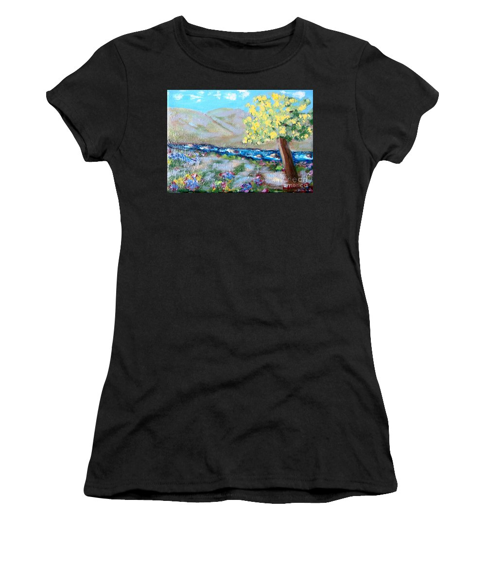 Landscapes Women's T-Shirt (Athletic Fit) featuring the painting A Quiet Place by Laurie Morgan