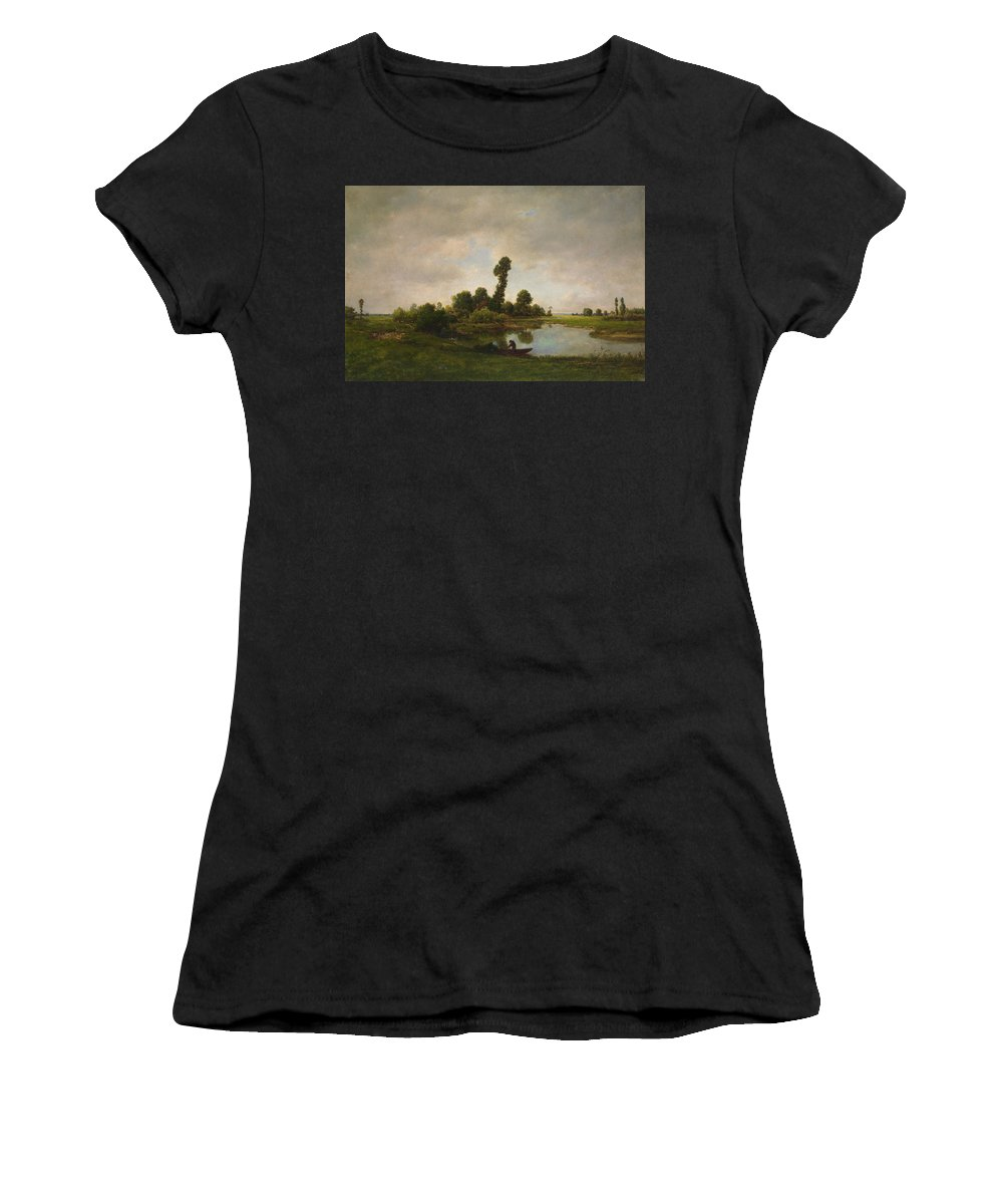 Barbizon School Women's T-Shirt featuring the painting A River Landscape by Theodore Rousseau
