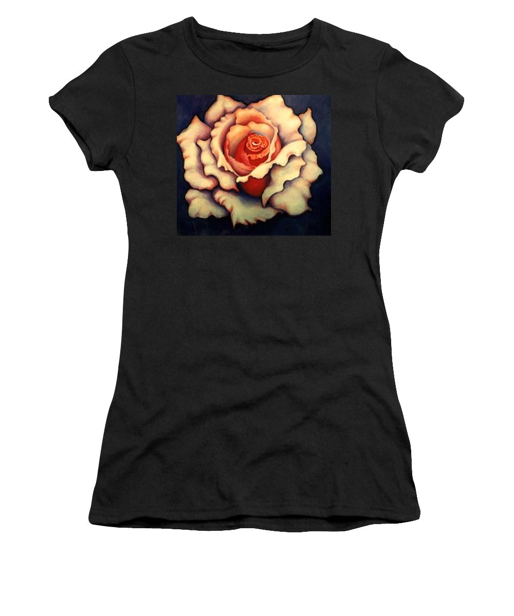 Flower Women's T-Shirt (Athletic Fit) featuring the painting A Rose by Jordana Sands