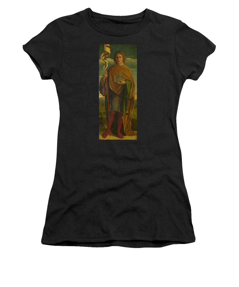 Girolamo Women's T-Shirt (Athletic Fit) featuring the digital art A Saint With A Fortress And A Banner by PixBreak Art